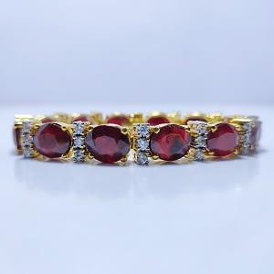 ROYAL BRIGHT RED HIMALAYAN RUBIES BRACELET WITH ZIRCONIA, RHODIUM GOLD PLATING