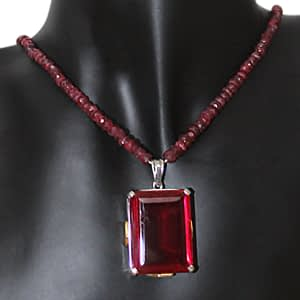 Chatham Pendant in Ruby String, With Rhodium Plating