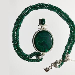 Malachite Pendant with White Zirconia in Emerald String