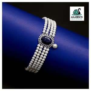 THE CLASSY CHOKER OF NATURAL BLUE HIMALAYAN SAPPHIRE WITH SWEET WATER PEARLS FOUR LAYER STRAND
