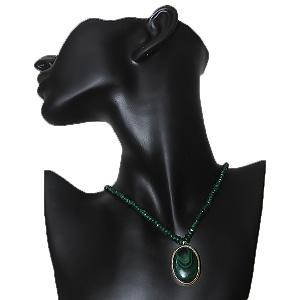 Malachite Locket with Emerald String