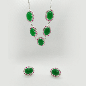 Princess Necklace set in Cabochon Shaped Jade Surrounded by Chatham and white Zirconia