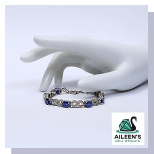 TWISTED NATURAL HIMALAYAN BLUE SAPPHIRE BRACELET WITH CUBIC WHITE ZIRCONIA, STERLING SILVER 925