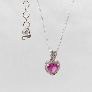 Heart Shape Pendant in Synthetic Pink Topaz with Customized Chain