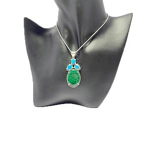 Malachite with Turquoise Pendant