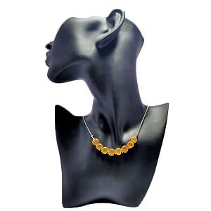 Yellow Ceylon Sapphire Necklace Set with Zirconia