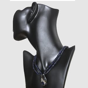 Blue Sapphire Necklace with Double Blue Sapphire Strings