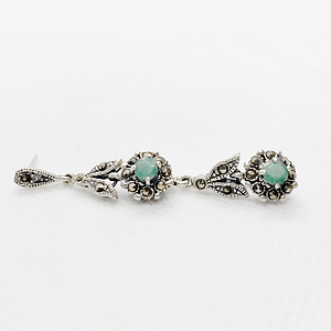 Emerald and Marcus Pendant with Ear Drops without Chain