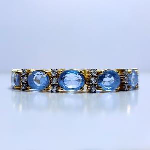 Synthetic Blue Topaz Bracelet with Zirconia