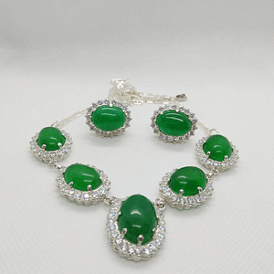 Princess Necklace Set in Cobochon Shaped Jade with Zirconia