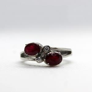 Garnet ring with white zirconia
