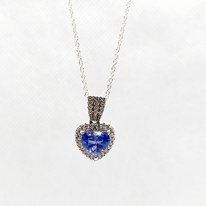Heart Shape Pendant in Synthetic Blue Sapphire with Customized Chain