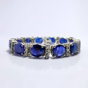 VINTAGE HIMALAYAN BLUE SAPPHIRE BRACELET WITH ZIRCONIA AND STERLING SILVER 925