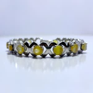 ROUNDED YELLOW SAPPHIRE INFINITY BRACELET, STERLING SILVER 925