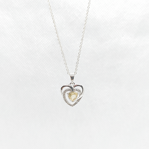 Heart Shape Pendant in Synthetic Yellow Topaz with Customized Chain