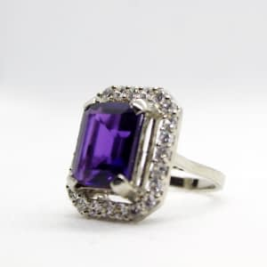 Synthetic Purple Amethyst Ring with Zirconia
