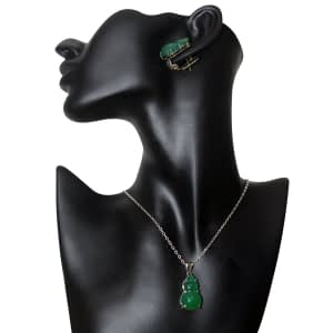 Green Iranian Agate Locket Set