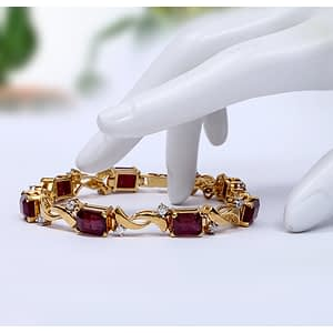 NATURAL BLOOD RED HIMALAYAN RUBY BRACELET IN EMERALD CUT WITH ZIRCONIA AND RHODIUM GOLD PLATING