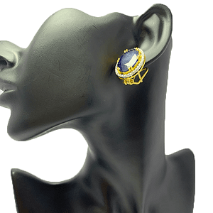 RHODIUM GOLD PLATED BLUE SAPPHIRE TOPS WITH ZIRCONIA AND STERLING SILVER