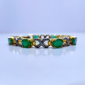 CLASSY OVAL CUT HIMALAYAN EMERALD BRACELET, ZIRCONIA FIXED IN RHODIUM GOLD PLATED STERLING SILVER 925