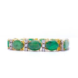 WHIMSICAL HIMALAYAN OVAL SHAPE EMERALD BRACELET WITH ZIRCONIA AND STERLING SILVER 925, RHODIUM GOLD PLATED