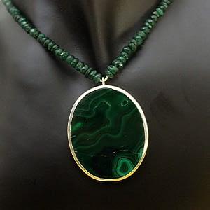 Malachite Locket with Emerald