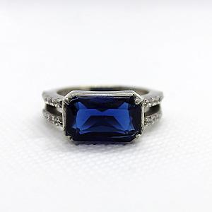 Ceylon Synthetic Blue Sapphire with White Zirconia