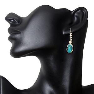 Elegant Turquoise Ear Drops With Zirconia