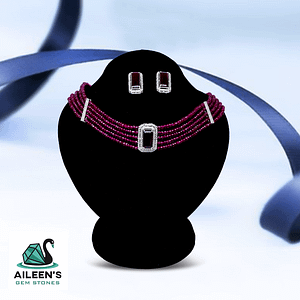 VINTAGE JEWELLERY, NATURAL HIMALAYAN RUBY STUDS AND NECKLACE WITH RUBY STRING, ZIRCONIA EMBELLISHMENT
