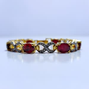 VINTAGE BLOOD RED RUBY TWISTED BRACELET WITH WHITE ZIRCONIA, RHODIUM GOLD PLATED