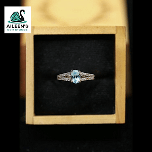 FANCIFUL SYNTHETIC SKY BLUE TOPAZ RING WITH ZIRCONIA