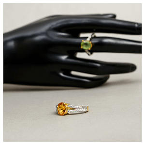 ELEGANT YELLOW SYNTHETIC TOPAZ RING WITH ZIRCONIA, RHODIUM GOLD PLATED STERLING SILVER 925