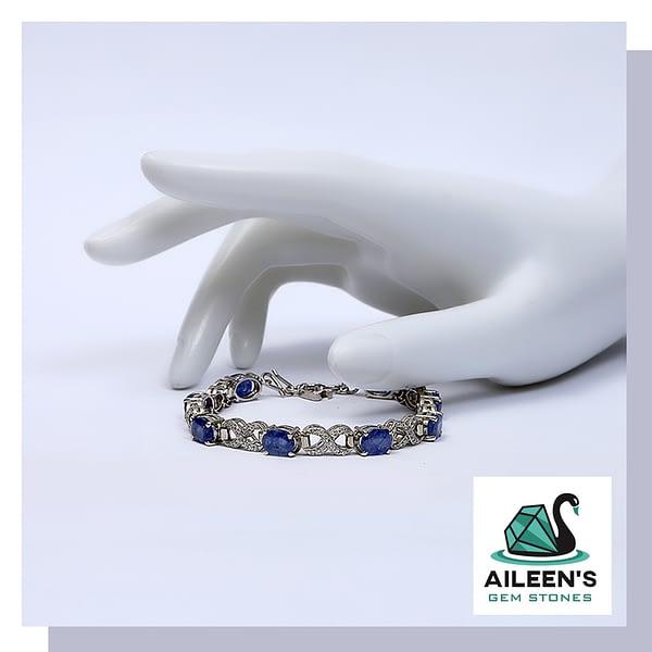 Himalayan Blue Sapphire Bracelet with Zirconia