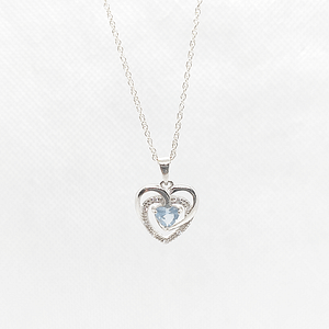 Heart Shape Pendant in Synthetic Blue Topaz with Customized Chain