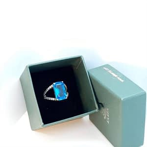 Blue Synthetic Topaz Ring with Zirconia